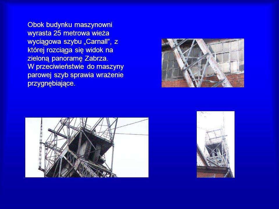 """Obok budynku maszynowni wyrasta 25 metrowa wieża wyciągowa szybu """"Carnall , z której rozciąga się widok na zieloną panoramę Zabrza."""