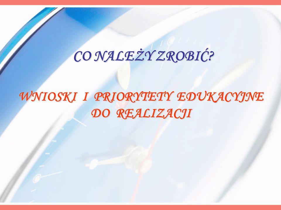 WNIOSKI I PRIORYTETY EDUKACYJNE DO REALIZACJI