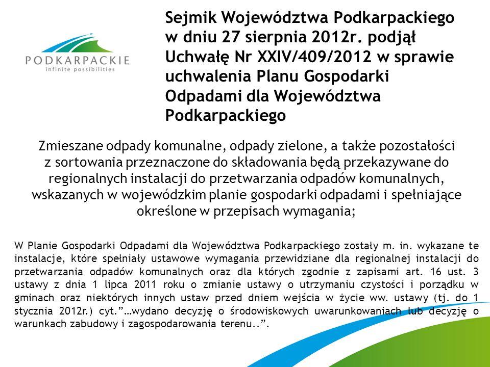 Sejmik Województwa Podkarpackiego w dniu 27 sierpnia 2012r