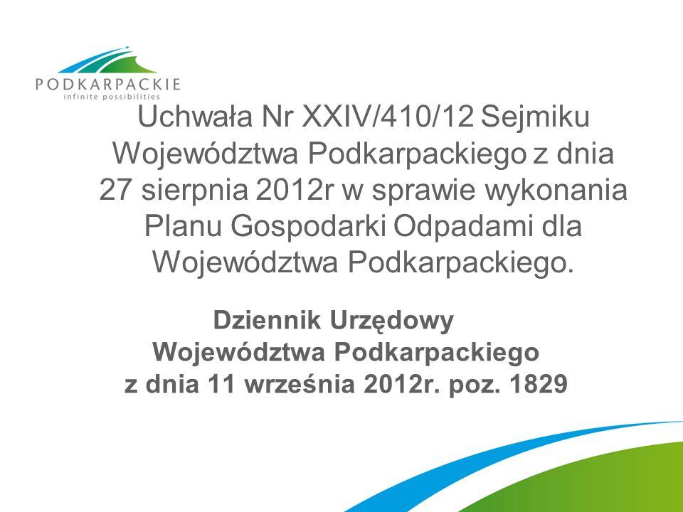 Uchwała Nr XXIV/410/12 Sejmiku Województwa Podkarpackiego z dnia 27 sierpnia 2012r w sprawie wykonania Planu Gospodarki Odpadami dla Województwa Podkarpackiego.