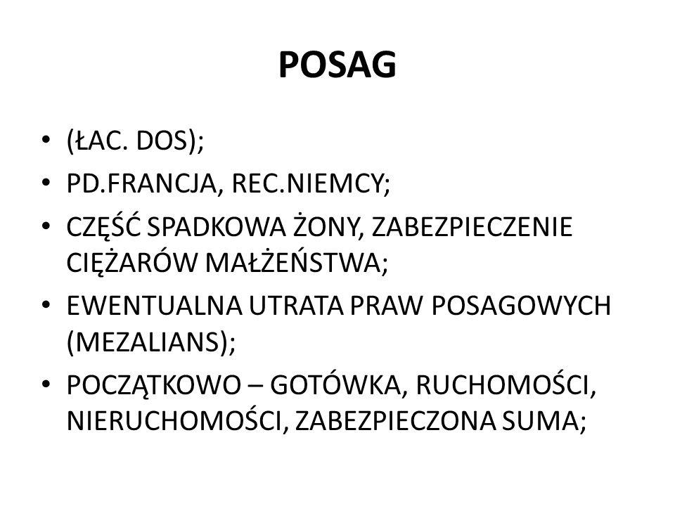 POSAG (ŁAC. DOS); PD.FRANCJA, REC.NIEMCY;