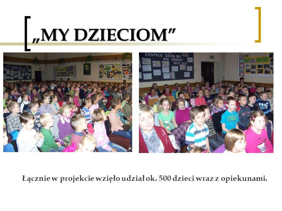"""""""MY DZIECIOM Łącznie w projekcie wzięło udział ok. 500 dzieci wraz z opiekunami."""