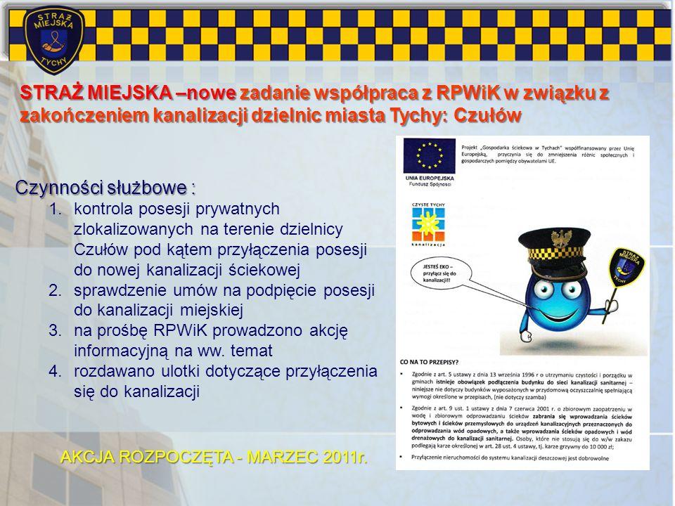 STRAŻ MIEJSKA –nowe zadanie współpraca z RPWiK w związku z zakończeniem kanalizacji dzielnic miasta Tychy: Czułów