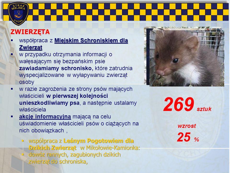 269 sztuk ZWIERZĘTA współpraca z Miejskim Schroniskiem dla Zwierząt