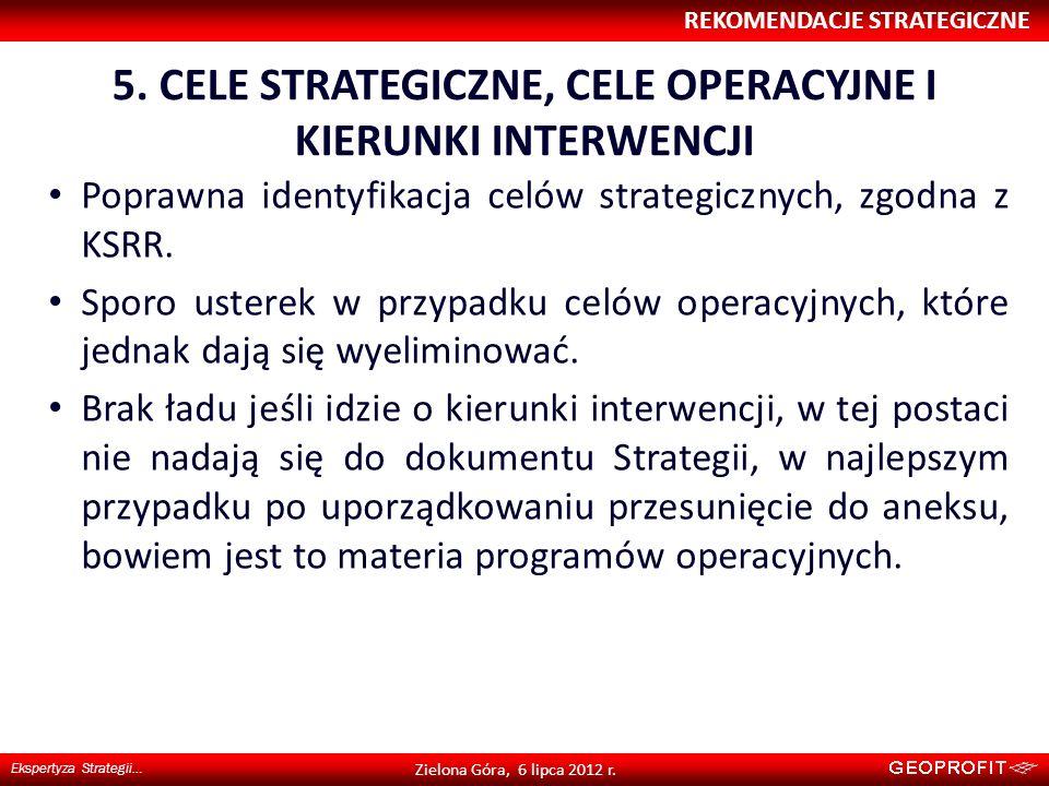 5. CELE STRATEGICZNE, CELE OPERACYJNE I KIERUNKI INTERWENCJI