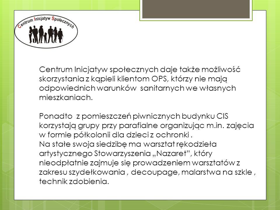 Centrum Inicjatyw społecznych daje także możliwość skorzystania z kąpieli klientom OPS, którzy nie mają odpowiednich warunków sanitarnych we własnych mieszkaniach.