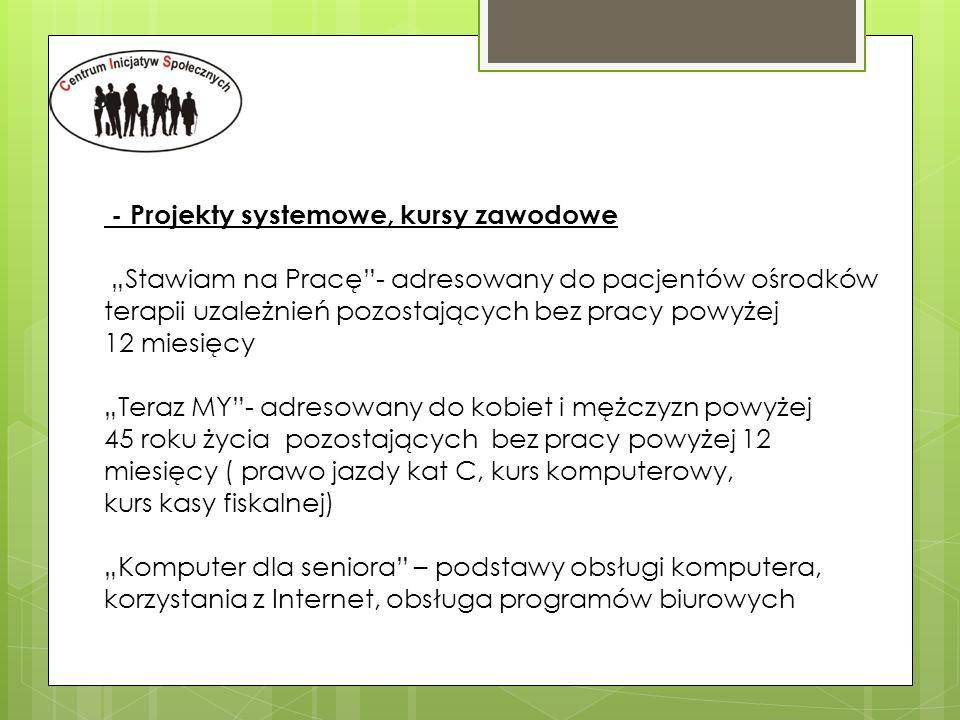 - Projekty systemowe, kursy zawodowe
