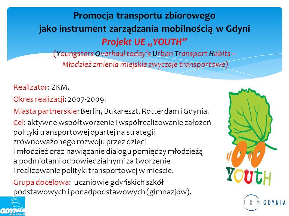 """Promocja transportu zbiorowego jako instrument zarządzania mobilnością w Gdyni Projekt UE """"YOUTH (Youngsters Overhaul today's Urban Transport Habits – Młodzież zmienia miejskie zwyczaje transportowe)"""