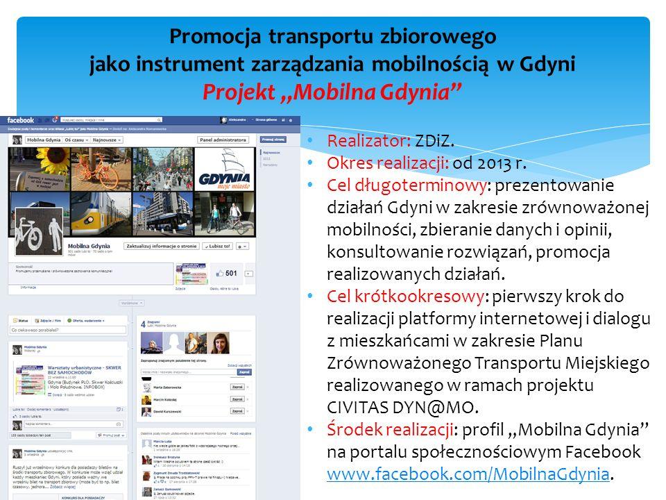 """Promocja transportu zbiorowego jako instrument zarządzania mobilnością w Gdyni Projekt """"Mobilna Gdynia"""