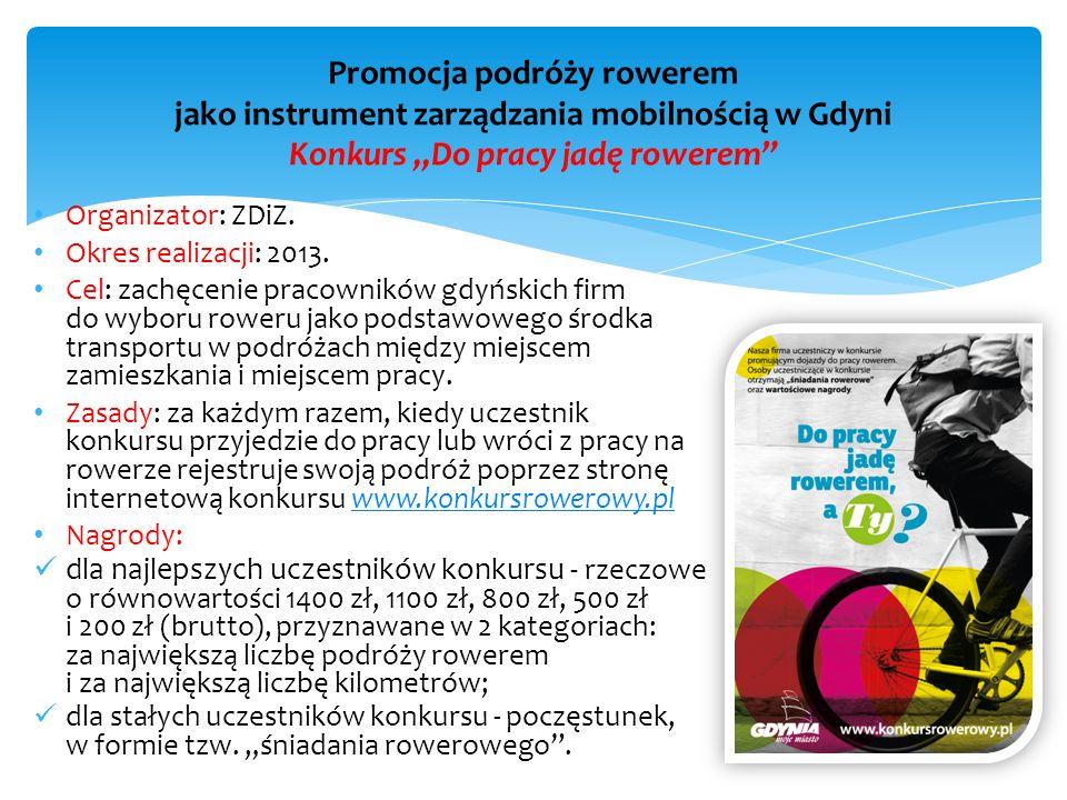 """Promocja podróży rowerem jako instrument zarządzania mobilnością w Gdyni Konkurs """"Do pracy jadę rowerem"""