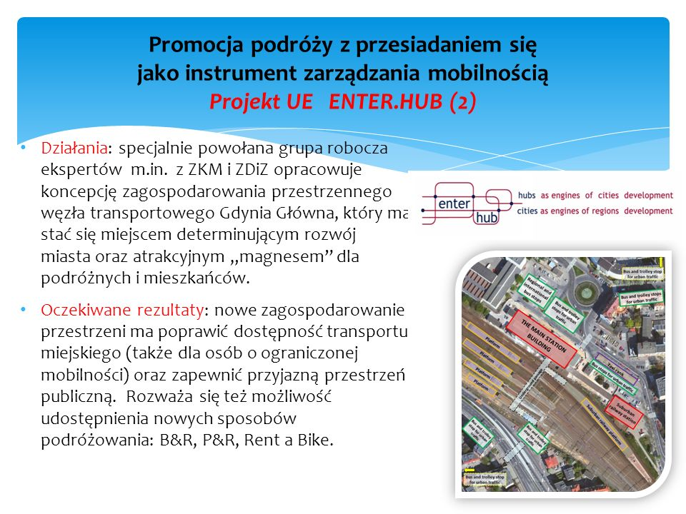 Promocja podróży z przesiadaniem się jako instrument zarządzania mobilnością Projekt UE ENTER.HUB (2)
