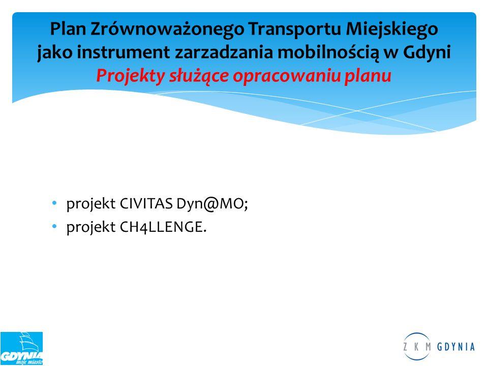 Plan Zrównoważonego Transportu Miejskiego jako instrument zarzadzania mobilnością w Gdyni Projekty służące opracowaniu planu