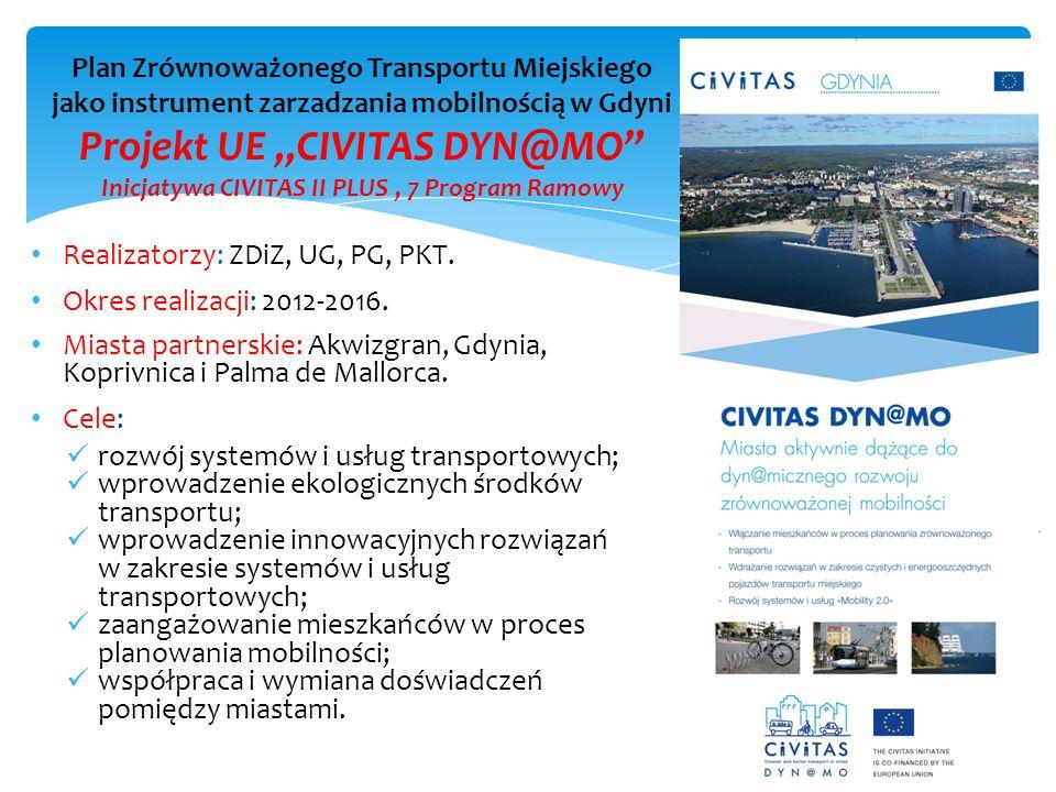 """Plan Zrównoważonego Transportu Miejskiego jako instrument zarzadzania mobilnością w Gdyni Projekt UE """"CIVITAS DYN@MO Inicjatywa CIVITAS II PLUS , 7 Program Ramowy"""