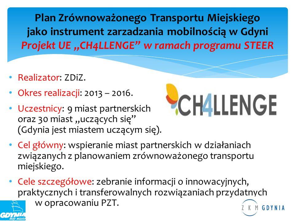 """Plan Zrównoważonego Transportu Miejskiego jako instrument zarzadzania mobilnością w Gdyni Projekt UE """"CH4LLENGE w ramach programu STEER"""