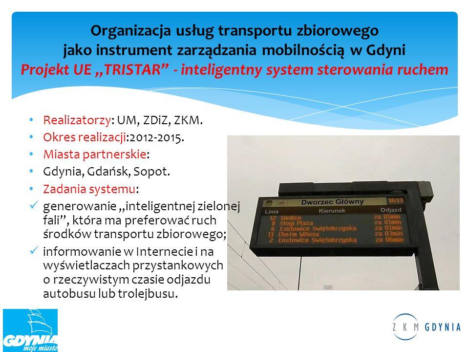 """Organizacja usług transportu zbiorowego jako instrument zarządzania mobilnością w Gdyni Projekt UE """"TRISTAR - inteligentny system sterowania ruchem"""