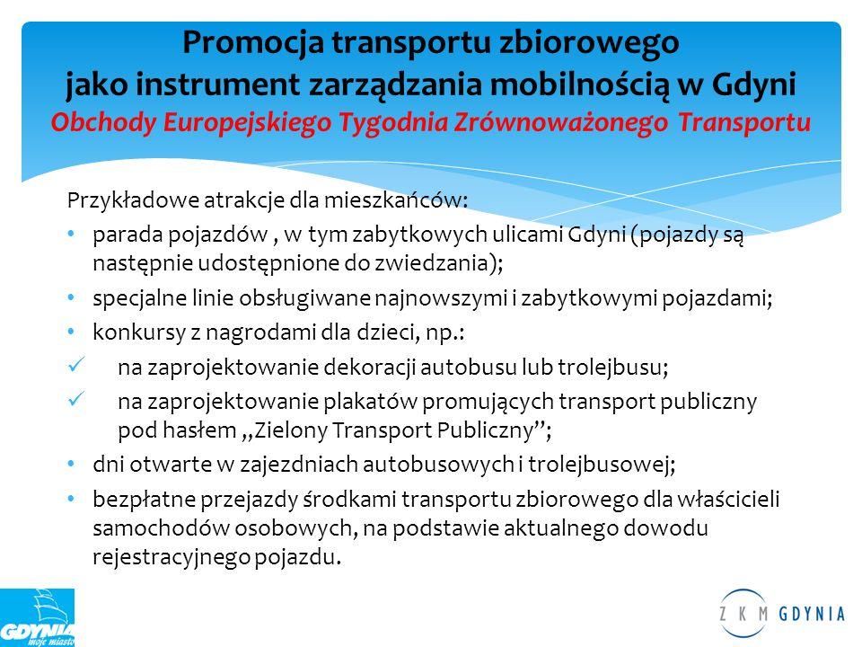 Promocja transportu zbiorowego jako instrument zarządzania mobilnością w Gdyni Obchody Europejskiego Tygodnia Zrównoważonego Transportu