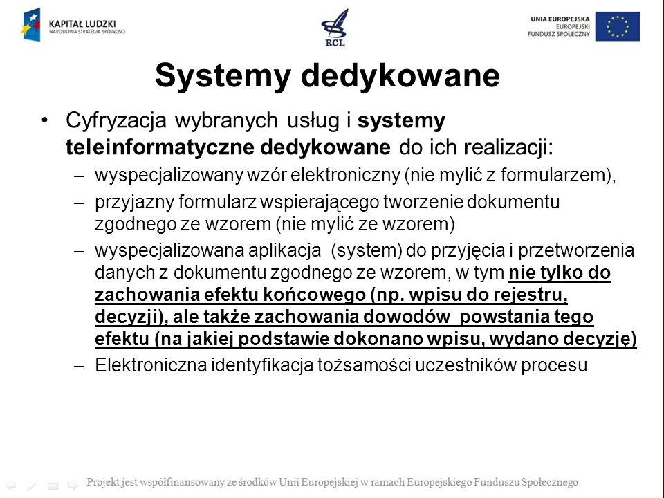 Systemy dedykowane Cyfryzacja wybranych usług i systemy teleinformatyczne dedykowane do ich realizacji: