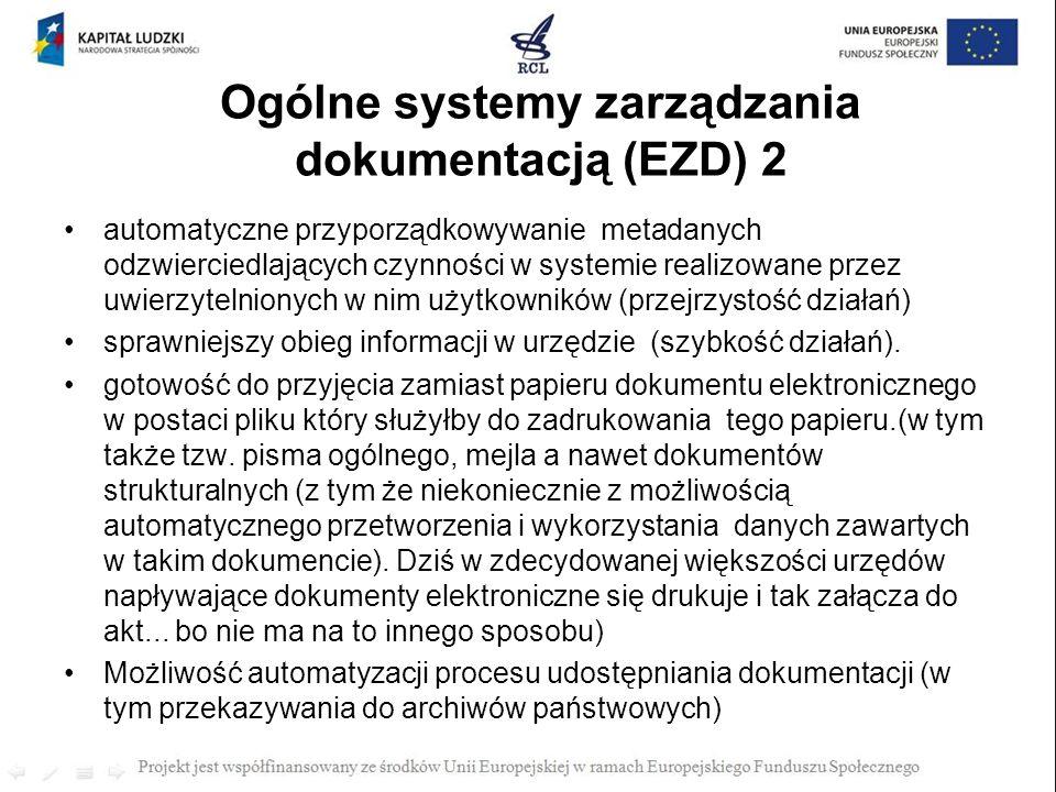 Ogólne systemy zarządzania dokumentacją (EZD) 2