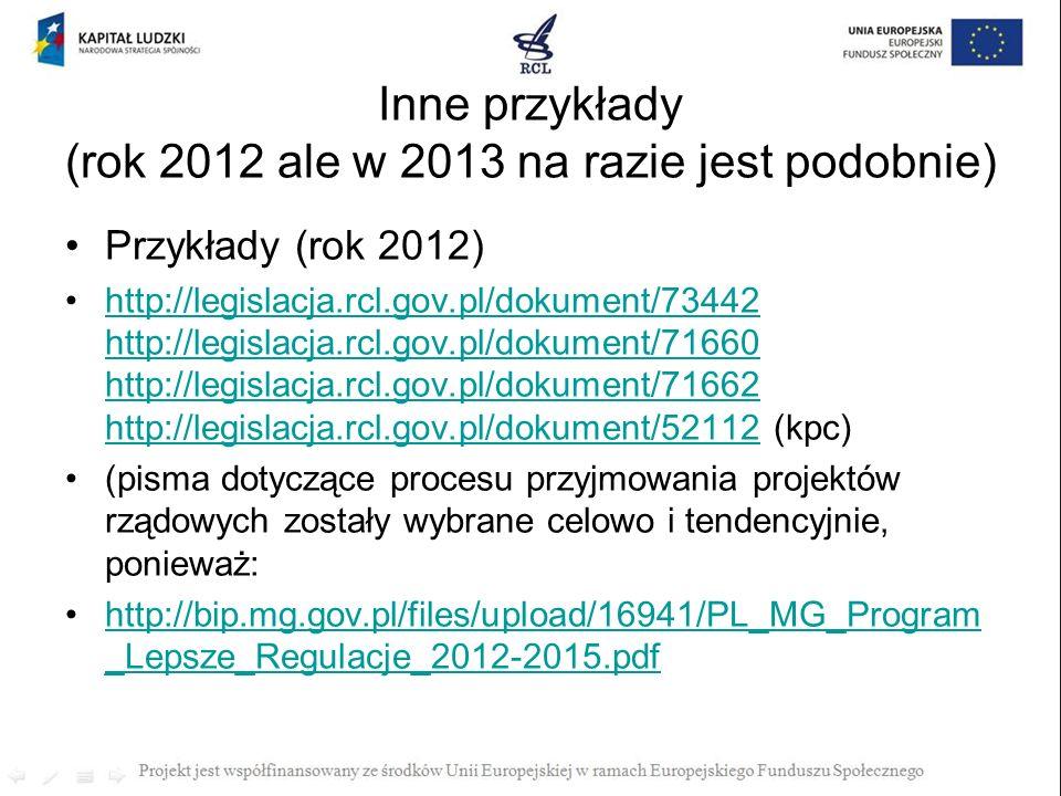 Inne przykłady (rok 2012 ale w 2013 na razie jest podobnie)