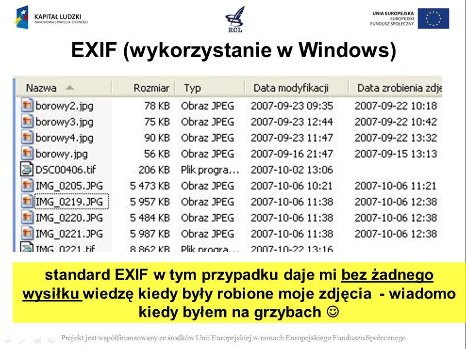 EXIF (wykorzystanie w Windows)