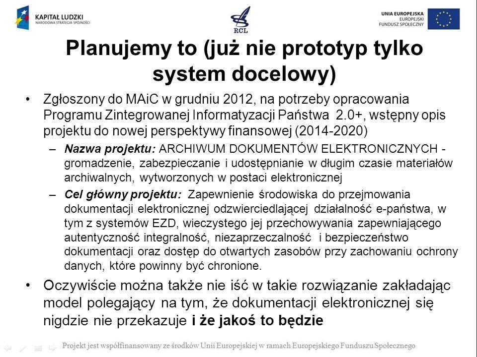 Planujemy to (już nie prototyp tylko system docelowy)
