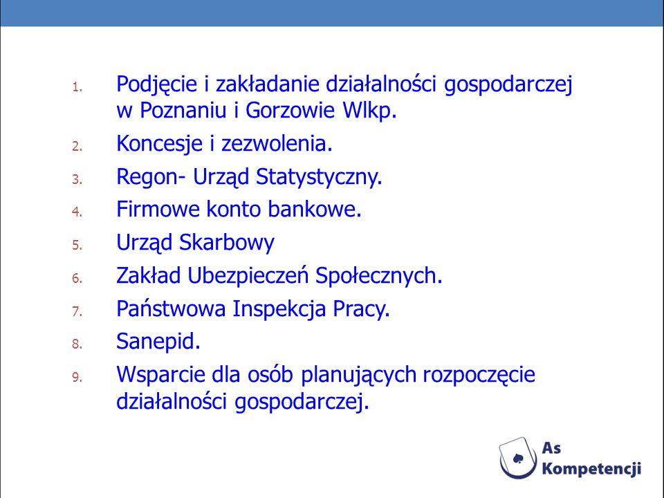 Podjęcie i zakładanie działalności gospodarczej w Poznaniu i Gorzowie Wlkp.