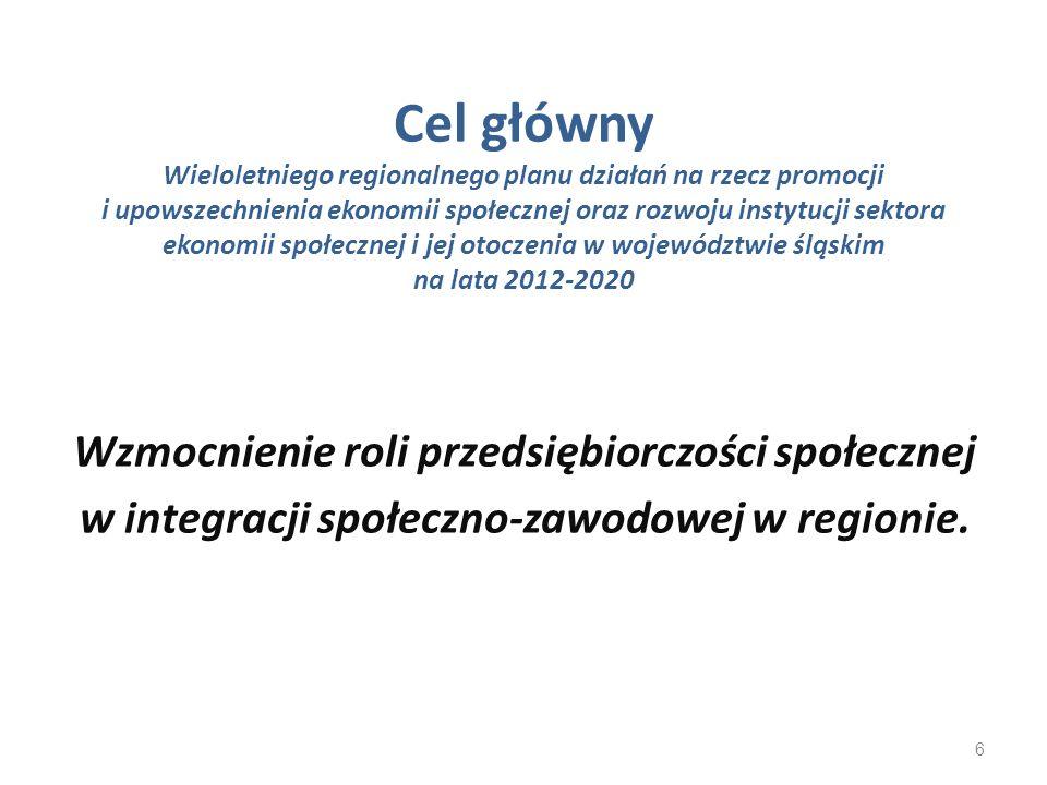 Cel główny Wieloletniego regionalnego planu działań na rzecz promocji i upowszechnienia ekonomii społecznej oraz rozwoju instytucji sektora ekonomii społecznej i jej otoczenia w województwie śląskim na lata 2012-2020