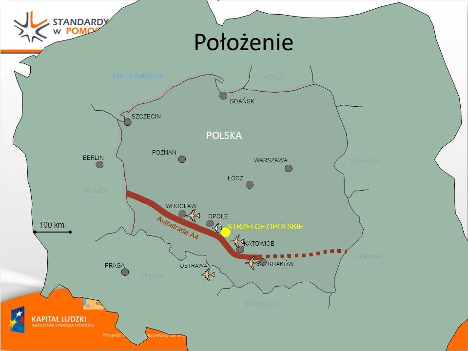 • Położenie POLSKA Morze Bałtyckie 100 km ROSJA BIAŁORUŚ NIEMCY