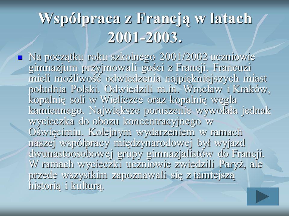 Współpraca z Francją w latach 2001-2003.