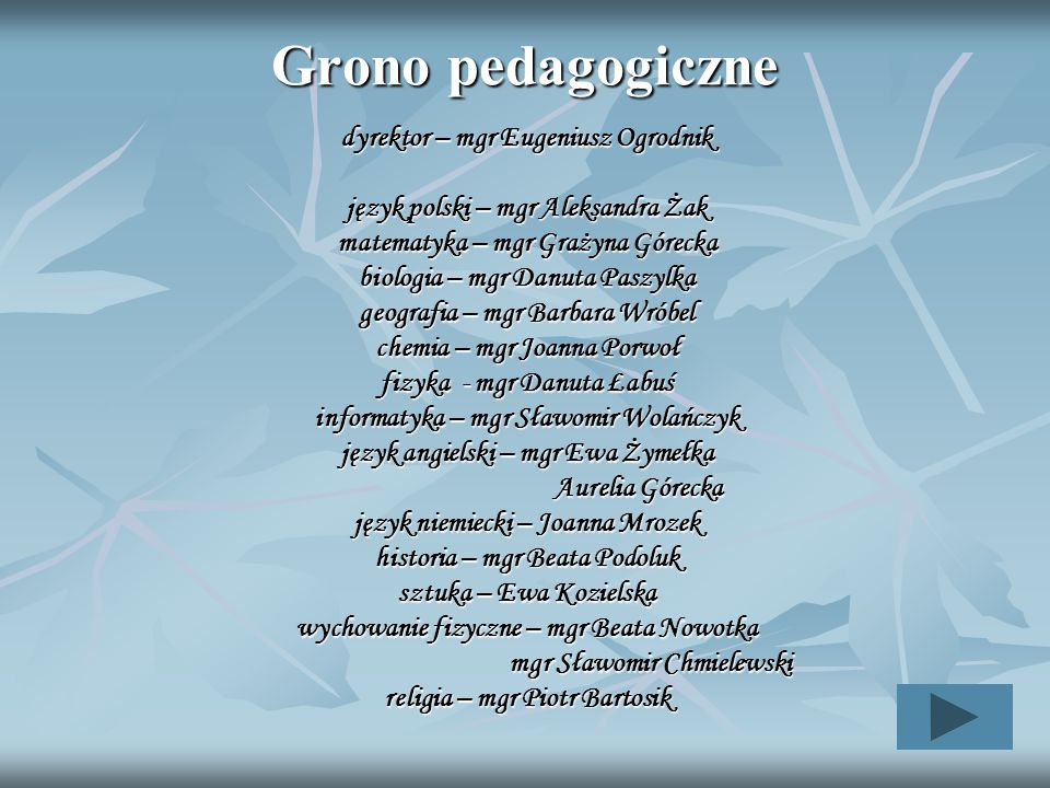 Grono pedagogiczne dyrektor – mgr Eugeniusz Ogrodnik