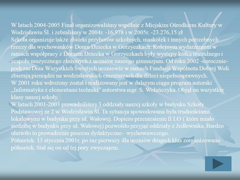 W latach 2004-2005 Finał organizowaliśmy wspólnie z Miejskim Ośrodkiem Kultury w Wodzisławiu Śl. i zebraliśmy w 2004r. -16,978 i w 2005r. -23.276,15 zł