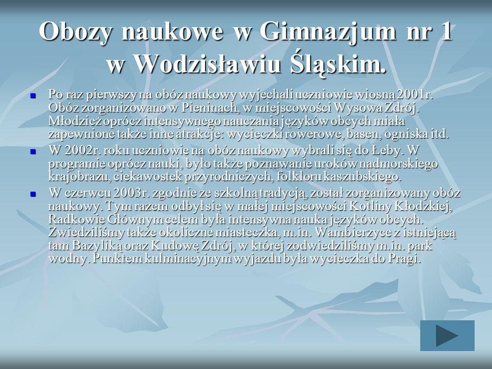 Obozy naukowe w Gimnazjum nr 1 w Wodzisławiu Śląskim.