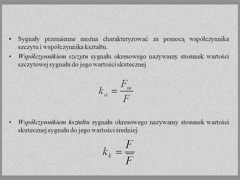 Sygnały przemienne można charakteryzować za pomocą współczynnika szczytu i współczynnika kształtu.