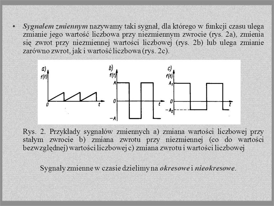 Sygnałem zmiennym nazywamy taki sygnał, dla którego w funkcji czasu ulega zmianie jego wartość liczbowa przy niezmiennym zwrocie (rys. 2a), zmienia się zwrot przy niezmiennej wartości liczbowej (rys. 2b) lub ulega zmianie zarówno zwrot, jak i wartość liczbowa (rys. 2c).