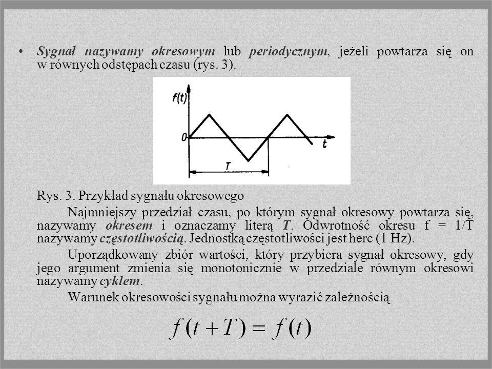 Sygnał nazywamy okresowym lub periodycznym, jeżeli powtarza się on w równych odstępach czasu (rys. 3).