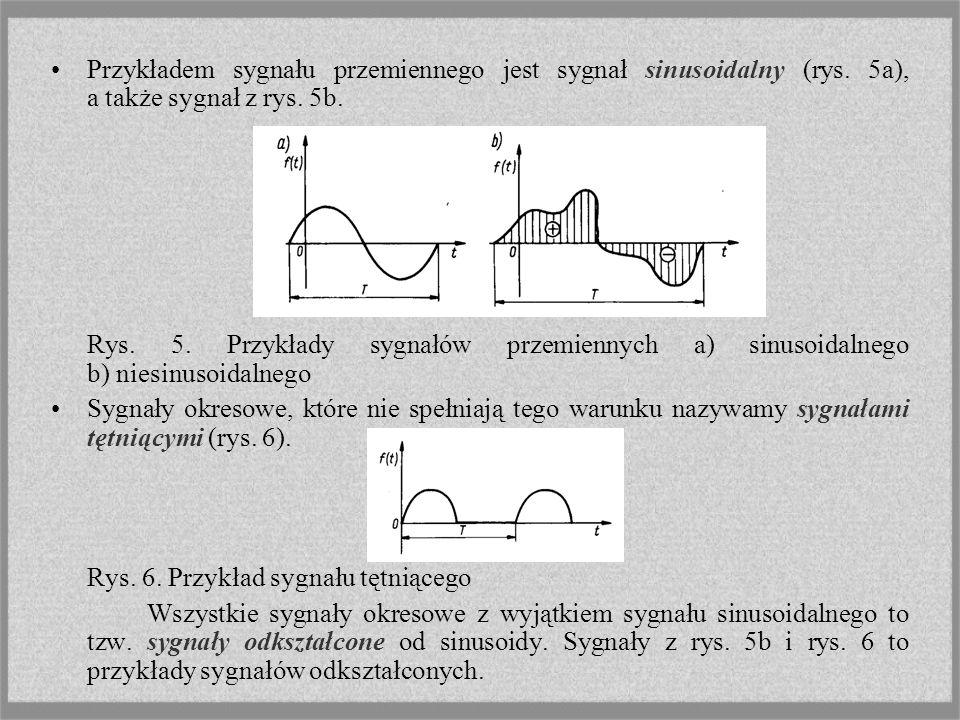 Przykładem sygnału przemiennego jest sygnał sinusoidalny (rys