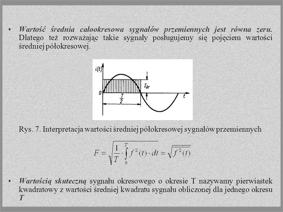 Wartość średnia całookresowa sygnałów przemiennych jest równa zeru