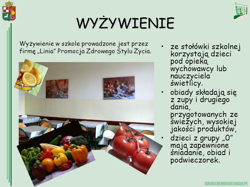 """WYŻYWIENIE Wyżywienie w szkole prowadzone jest przez firmę """"Linia Promocja Zdrowego Stylu Życia."""