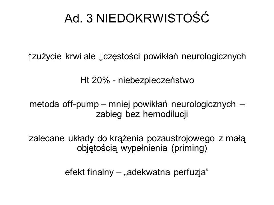 Ad. 3 NIEDOKRWISTOŚĆ ↑zużycie krwi ale ↓częstości powikłań neurologicznych. Ht 20% - niebezpieczeństwo.