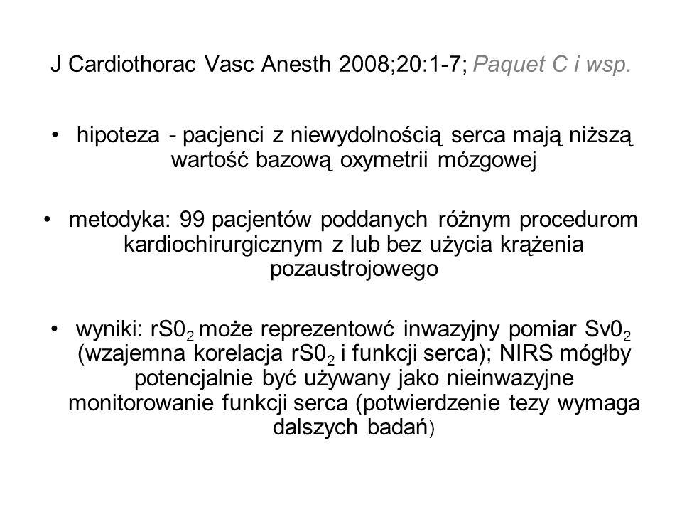 J Cardiothorac Vasc Anesth 2008;20:1-7; Paquet C i wsp.
