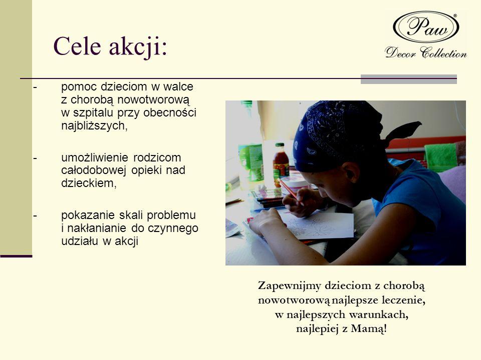 Cele akcji: - pomoc dzieciom w walce z chorobą nowotworową w szpitalu przy obecności najbliższych,