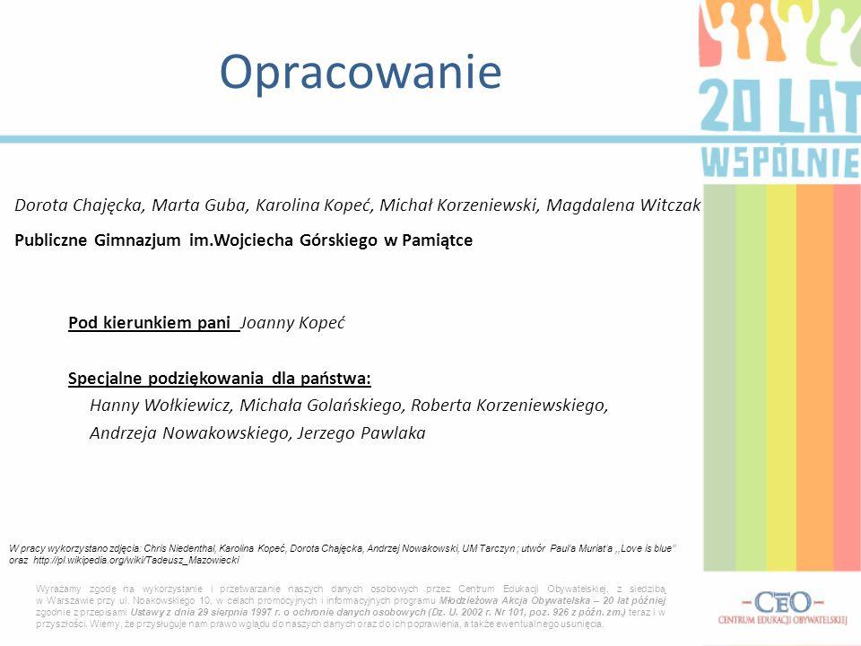 Opracowanie Dorota Chajęcka, Marta Guba, Karolina Kopeć, Michał Korzeniewski, Magdalena Witczak.