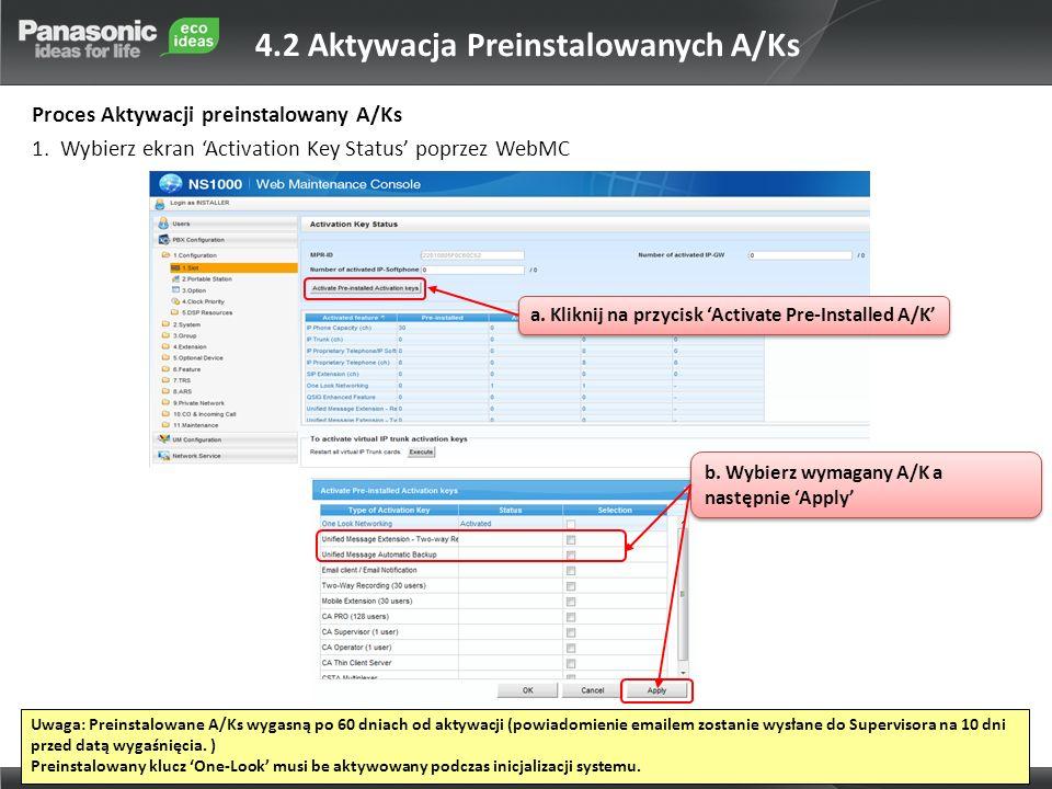4.2 Aktywacja Preinstalowanych A/Ks