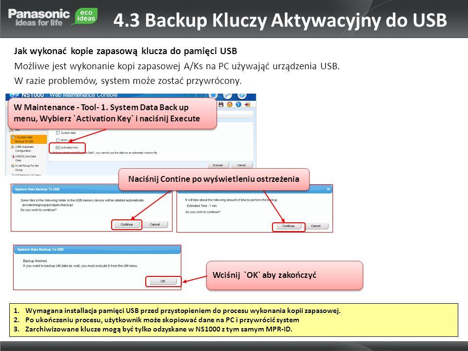4.3 Backup Kluczy Aktywacyjny do USB