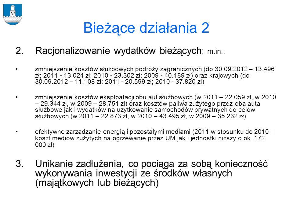Bieżące działania 2 Racjonalizowanie wydatków bieżących; m.in.: