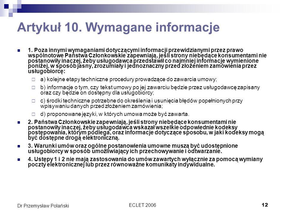 Artykuł 10. Wymagane informacje