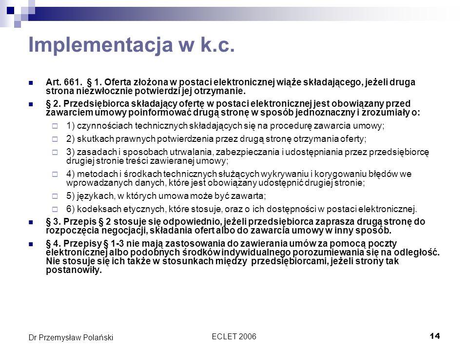 Implementacja w k.c.