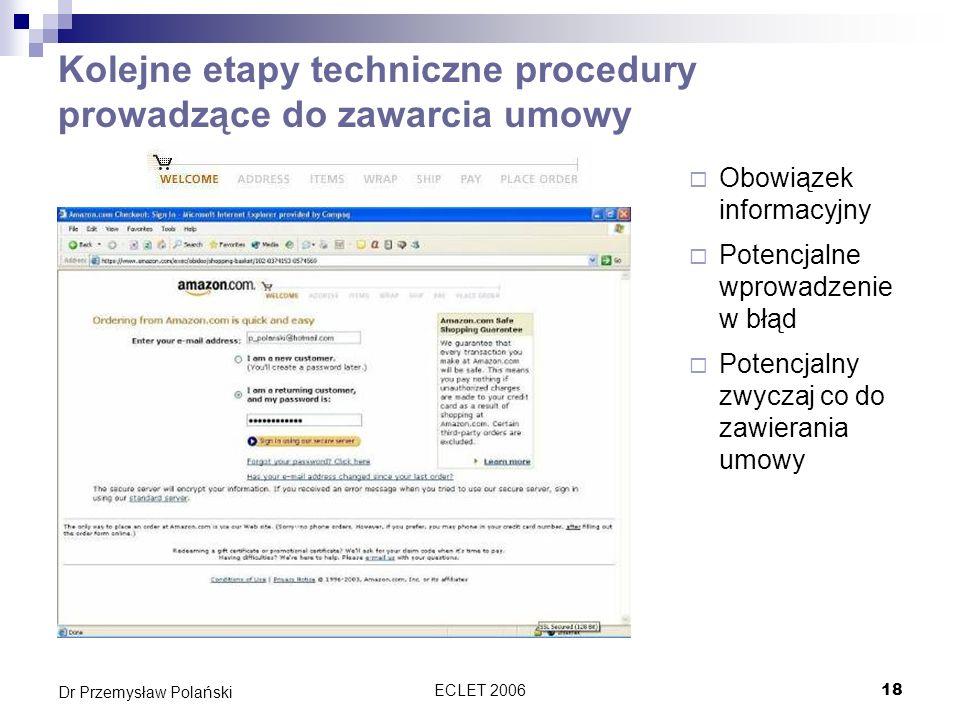 Kolejne etapy techniczne procedury prowadzące do zawarcia umowy