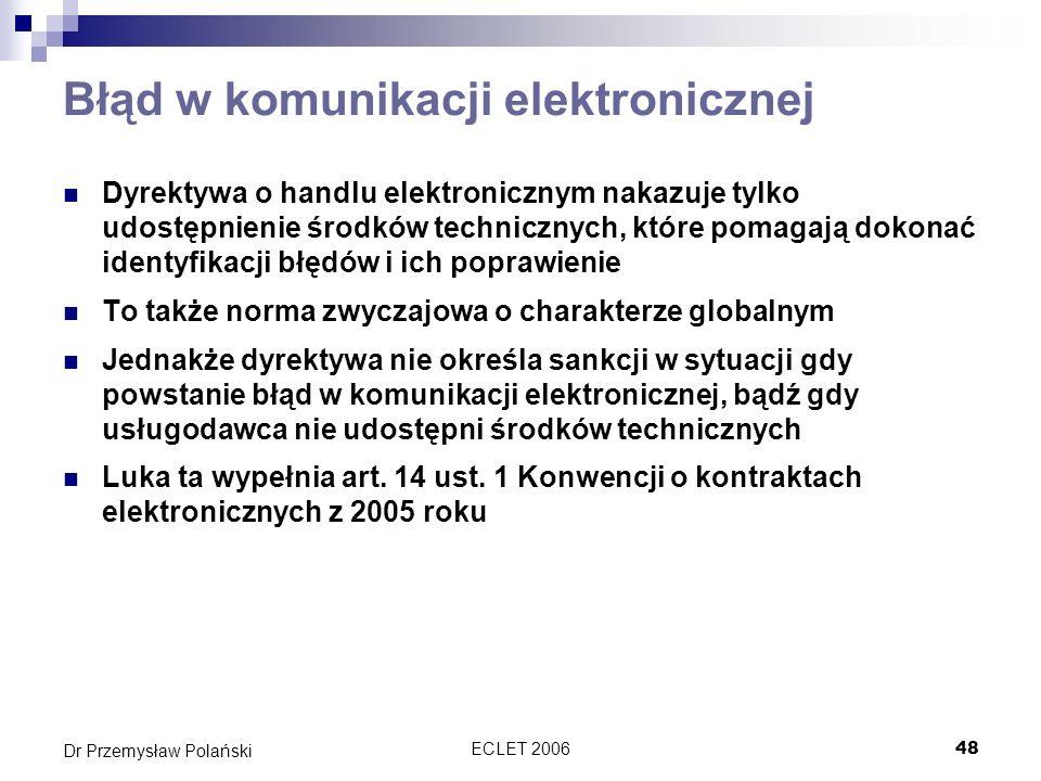 Błąd w komunikacji elektronicznej