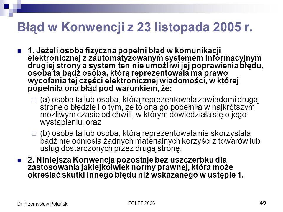 Błąd w Konwencji z 23 listopada 2005 r.